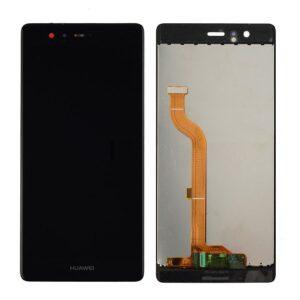 Sprednje nadomestno steklo za Huawei Ascend P9 + LCD črne barve