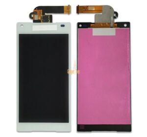 Sprednje nadomestno steklo za Sony Xperia Z5 Compact + LCD bele barve