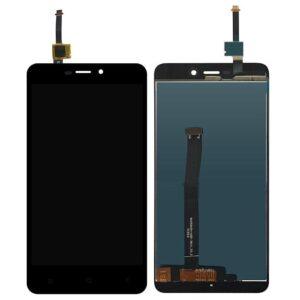 Sprednje nadomestno steklo za Xiaomi Redmi 4A + LCD črne barve